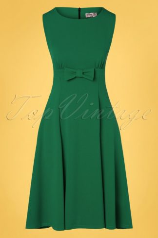 50s Daborah Bow Swing Dress in Emerald Green