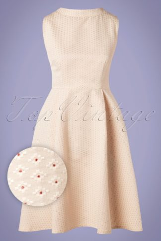 50s Evening Spot Fit And Flare Dress in Cream
