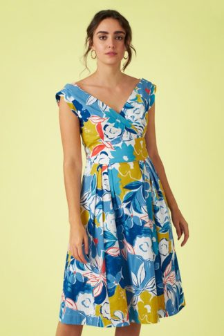 50s Florence Asilah Floral Swing Dress in Blue