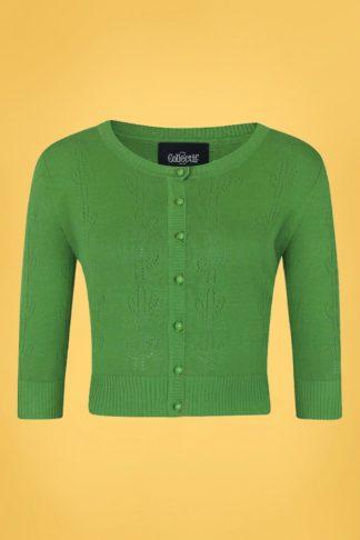 50s Fortuna Cactus Cardigan in Green