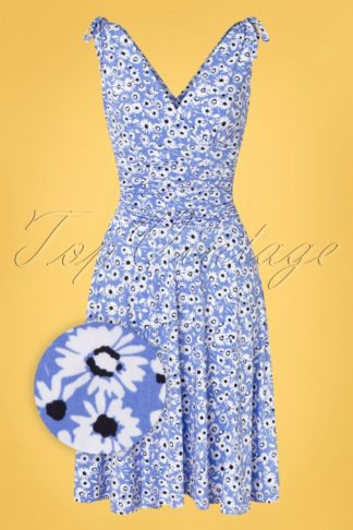 50s Grecian Daisy Dress in Sky Blue