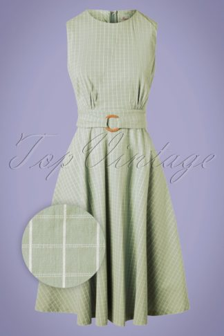 50s Grid Check Flare Dress in Duck Egg Green