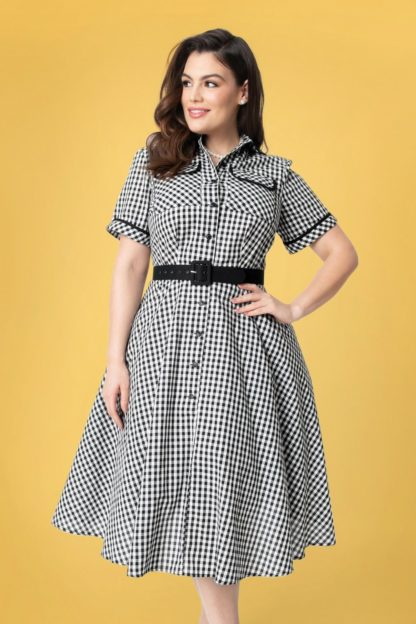 50s I Love Lucy x UV Ethel Swing Dress in Black and White Gingham
