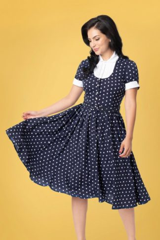 50s I Love Lucy x UV Ricardo Swing Dress in Navy and White Polkadot