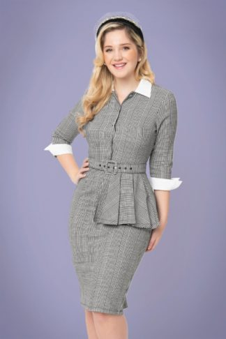 50s I Love Lucy x UV TV Star Pencil Dress in Black and White Houndstooth