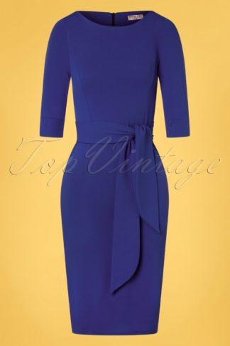 50s Janna Pencil Dress in Royal Blue