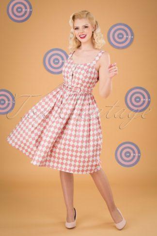 50s Jemima Harlequin Swing Dress in Pink