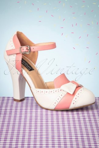 50s June Gelato Pumps in Off White and Pink