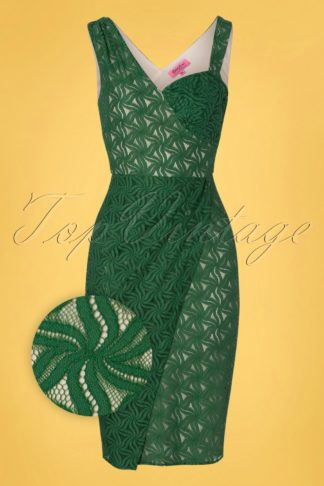 50s Jungle Jive Lace Sarong Pencil Dress in Green