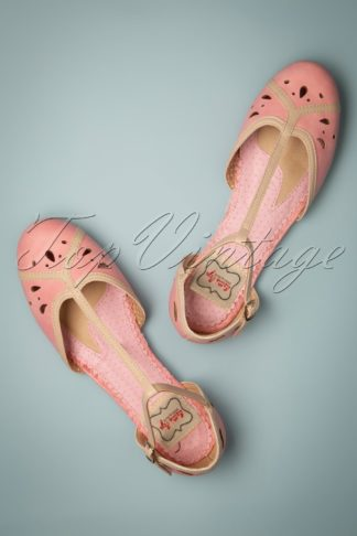 50s Katie T-Strap Flats in Pink