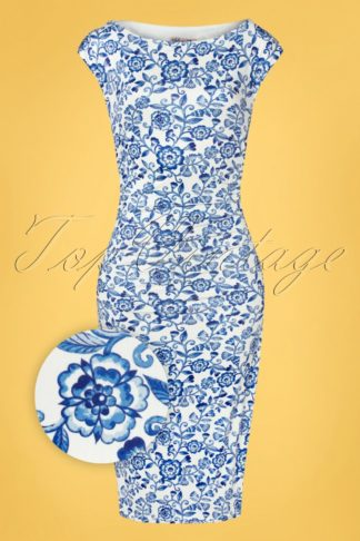 50s Kensley Floral Pencil Dress in White and Blue