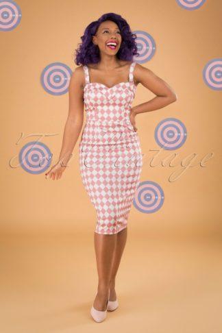 50s Kiana Harlequin Pencil Dress in Pink