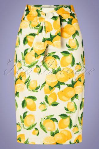 50s Lemon Pencil Skirt in White