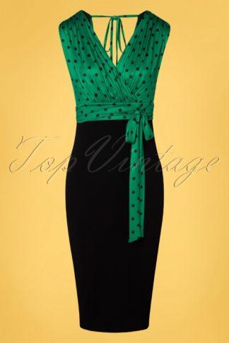 50s Marenda Polkadot Pencil Dress in Black and Green