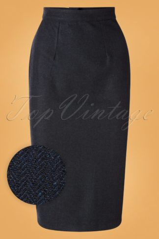50s Micheline Pitt X Unique Vintage Rachael Wiggle Skirt in Navy Tweed