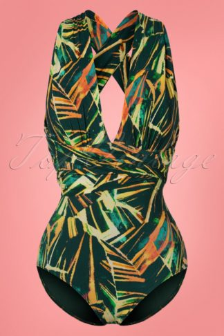 50s Multiway Palm Leaves Swimsuit in Green