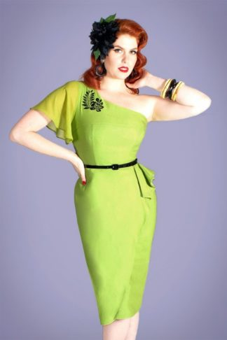 50s Mystic Island Pencil Dress in Lime and Black