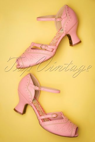 50s Nicole Peeptoe Pumps in Pink