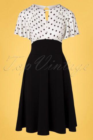 50s Nina Polkadot Swing Dress in Black and Ivory