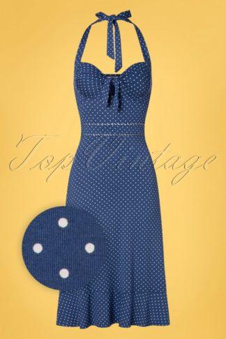 50s Nizza Polkadot Swing Dress in Blue