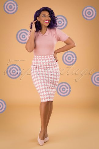 50s Polly Harlequin Pencil Skirt in Pink