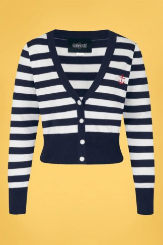50s Purdy Nautical Striped Cardigan in Navy and White