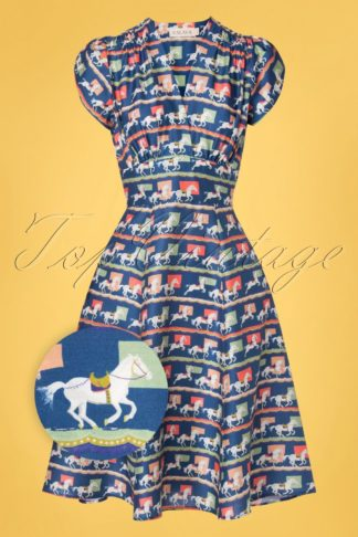 50s Rita Show Ponies Swing Dress in Navy