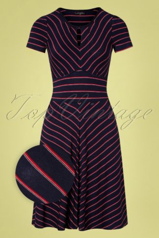 50s Rivage Stripes Dress in Navy and Red