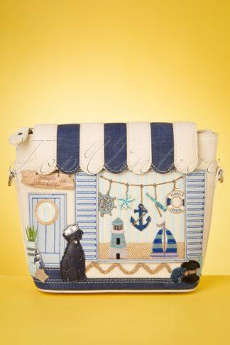 50s Seaside Souvenirs Mini Tote Bag in Navy and Ecru