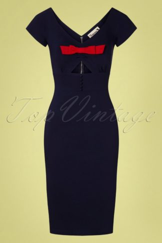 50s Shame Pencil Dress in Navy