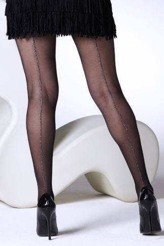 50s Sparkle Seamed Tights in Black
