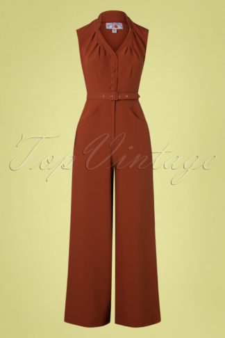 50s Stefania Suit Jumpsuit in Stone