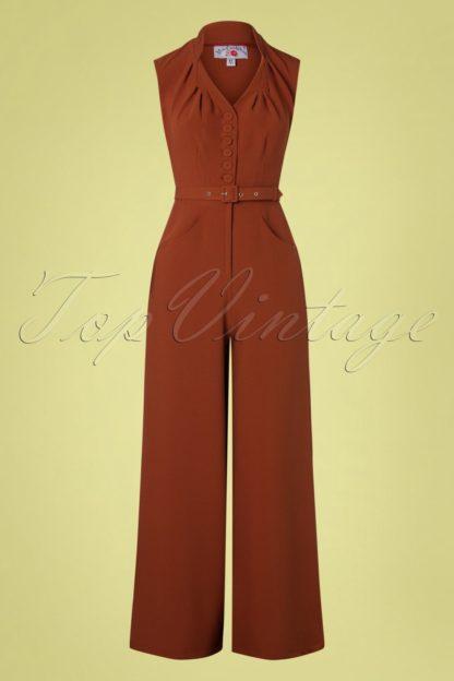 50s Stefania Suit Jumpsuit in Stone