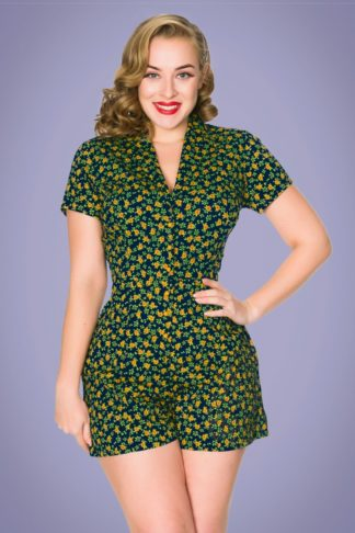 50s Tessa Floral Playsuit in Navy