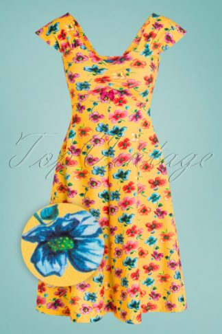 60s Amy Blossom Dress in Yellow