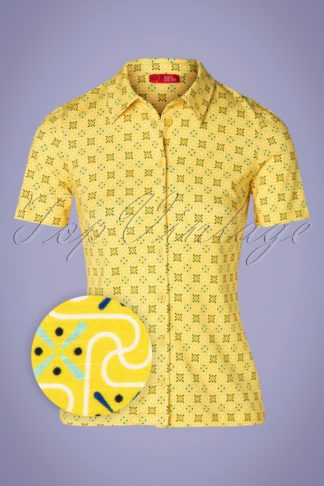60s Daisy Amelie Blouse in Sunshine Yellow