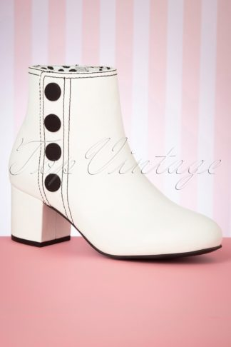 60s Eve Ankle Booties in Cream