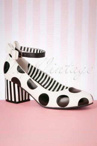 60s Eve Fester Block Heel Pumps in Cream and Black