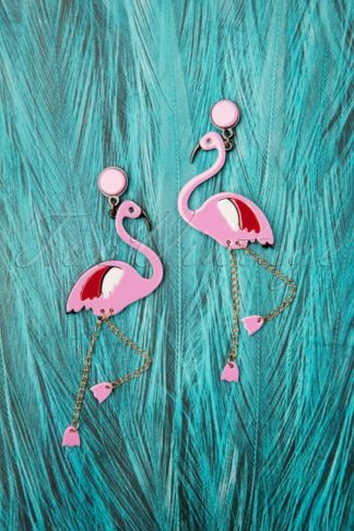 60s Flirty Flamingo Earrings in Pink