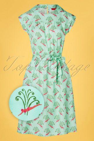 60s Gloria Swing Dress in Aqua