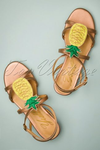 60s Herm Pineapple Leather Sandals in Rose