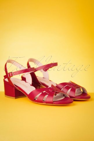 60s Isla Low Heel Sandals in Red