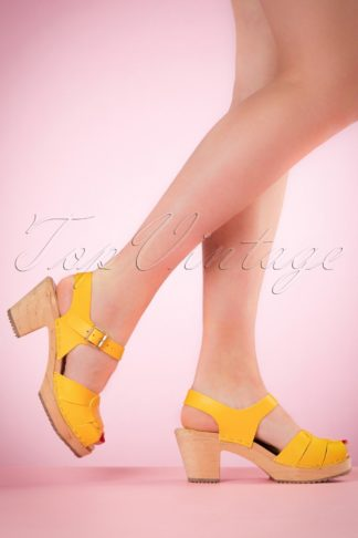 60s Loretta Leather Clogs in Yellow