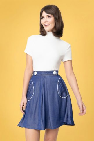 60s Smak Parlour Chambray Sitting Pretty Skirt in Denim Blue