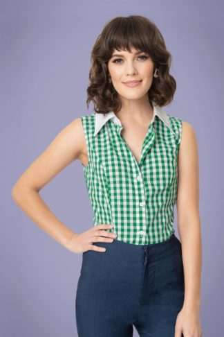 60s Smak Parlour Go-Getter Blouse in Green and White Gingham