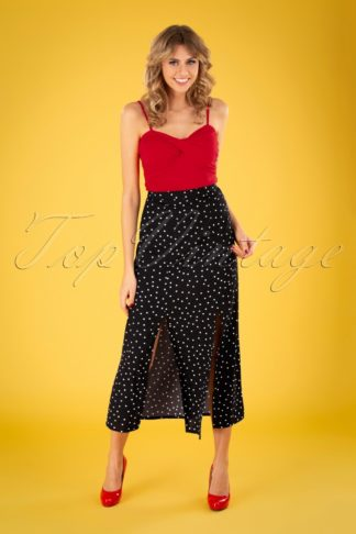 60s The Polly Polka Maxi Skirt in Black