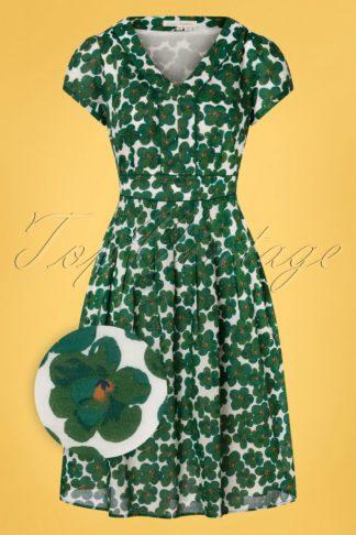 60s Villa Geranium Garden Swing Dress in Ivory and Green