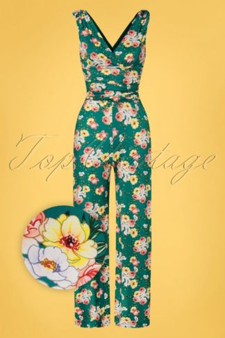 70s Casey Floral Jumpsuit in Teal Green
