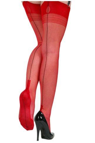 Ars Vivendi Nylons Cuban Heel rot mit schwarzer Naht
