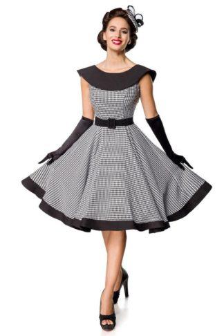 Belsira Ärmelfreies Jersey Swingkleid Schwarz Weiß